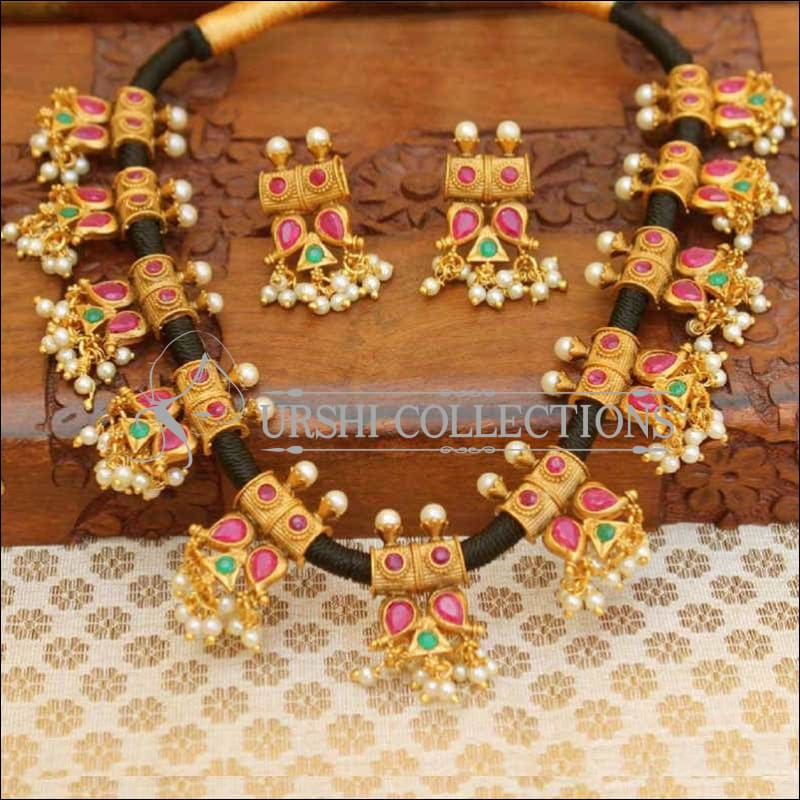 Stylish Designer Black Thread Stone Studded Necklace Set - Pink & Green - Necklace Set