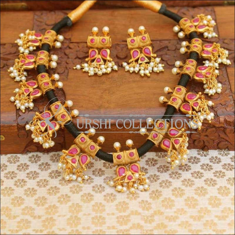 Stylish Designer Black Thread Stone Studded Necklace Set - Pink - Necklace Set