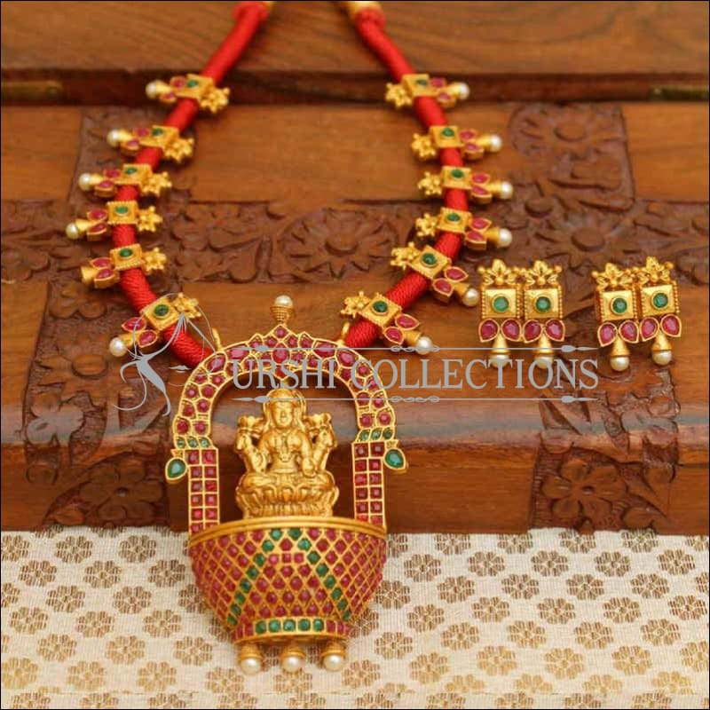 Temple Design Red Thread Stone Studded Necklace Set - Necklace Set