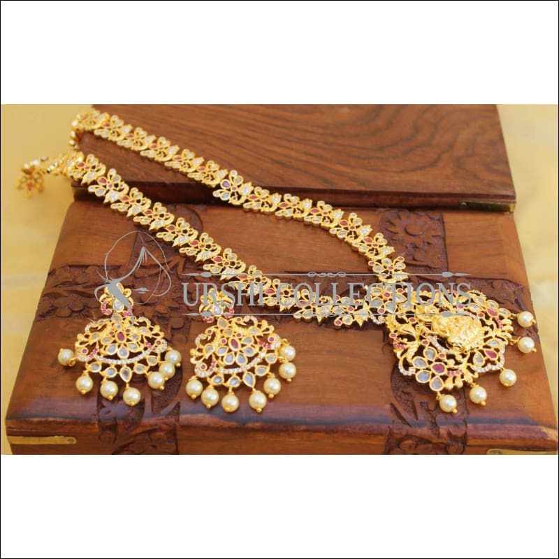 Traditional Elegant Gold Plated Temple Necklace Set UC-NEW90 - Red and White - Necklace Set