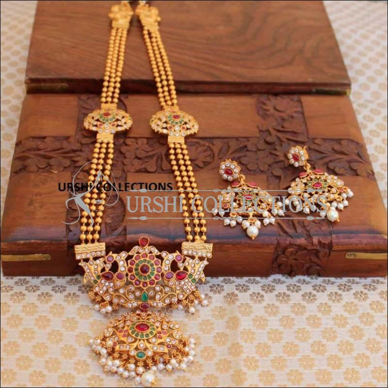 Traditional Mani Mala With Stone Studded Peacock Pendant - Multi - Necklace Set