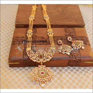 Traditional Mani Mala With Stone Studded Peacock Pendant - Pink - Necklace Set