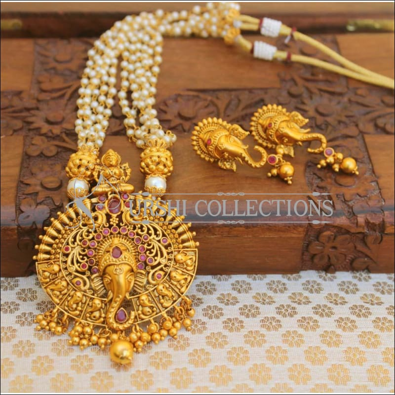 Traditional Matte Finish Ganesha Necklace Set UC-NEW98 - Red - Necklace Set