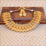 Traditional Matte Finish Kasu Mala With Earrings - Necklace Set