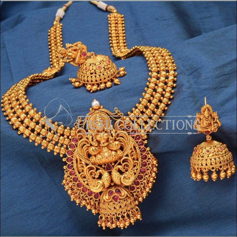 Traditional Matte Finish Long Lakshmi Necklace Set UC-NEW250 - Ruby - Necklace Set