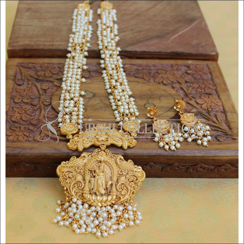 Traditional Pearl Matte Finish Temple Ball Hara Necklace Set UC-NEW271 - Necklace Set