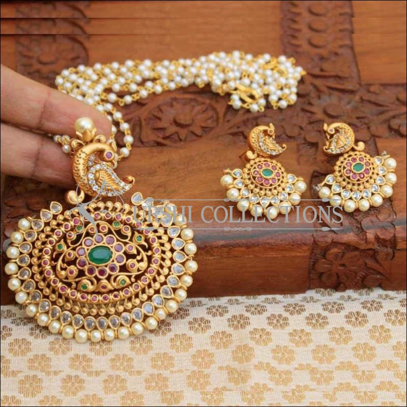 Traditional Style Stone Studded Peacock Pendant Set - Pendant Set