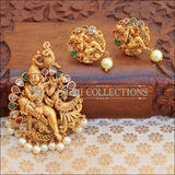 Traditional Temple Design Krishna Pendant Set - Multi - Pendant Set