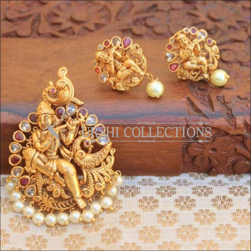 Traditional Temple Design Krishna Pendant Set - Pink - Pendant Set
