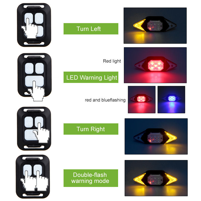 Bicycle Tail Light USB Smart Wireless Remote Control Turn Signal Warning Lamp