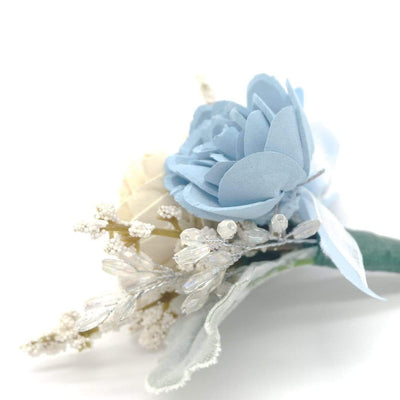 Formal Light Blue Boutonniere