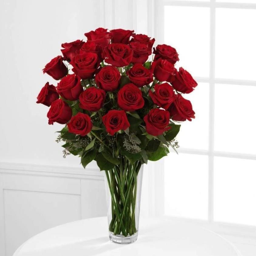 24 Dazzling Red Roses