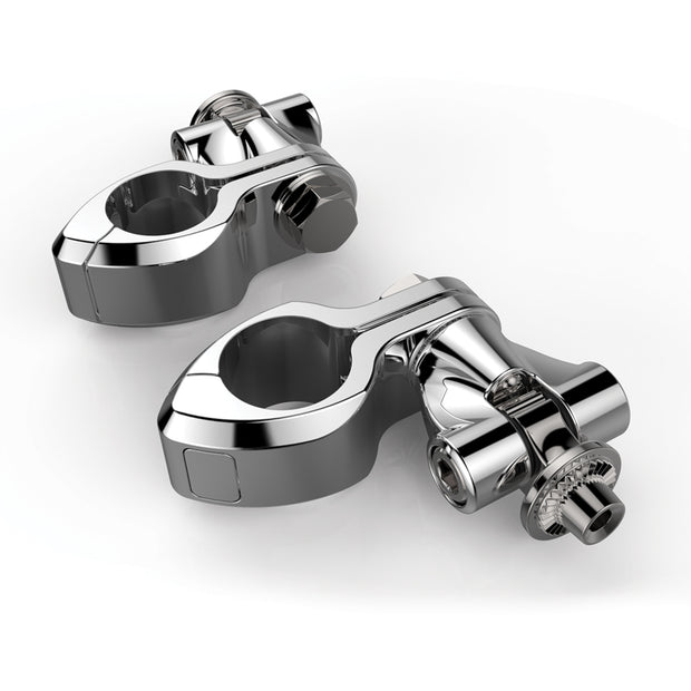 Ciro Hingeless Clamps With Clevis & Peg Mount in Chrome or Black