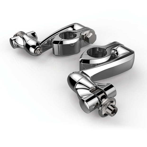 Ciro Hingeless Clamps With Clevis & Peg Mount & Extension Arm in Chrome or Black