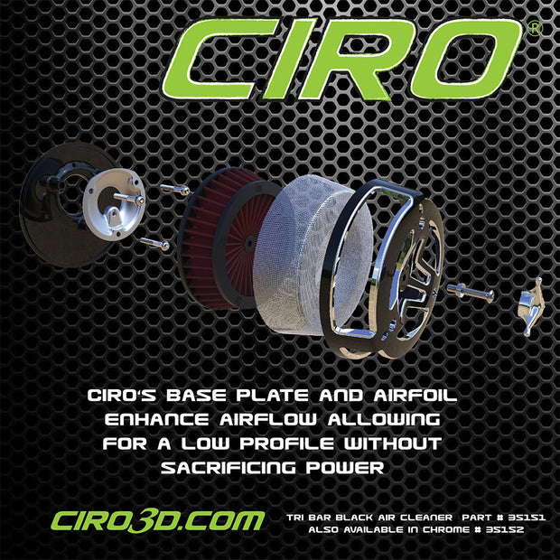 Ciro Tri-Bar Air Cleaner For '08-'16 Touring Models in Chrome or Black
