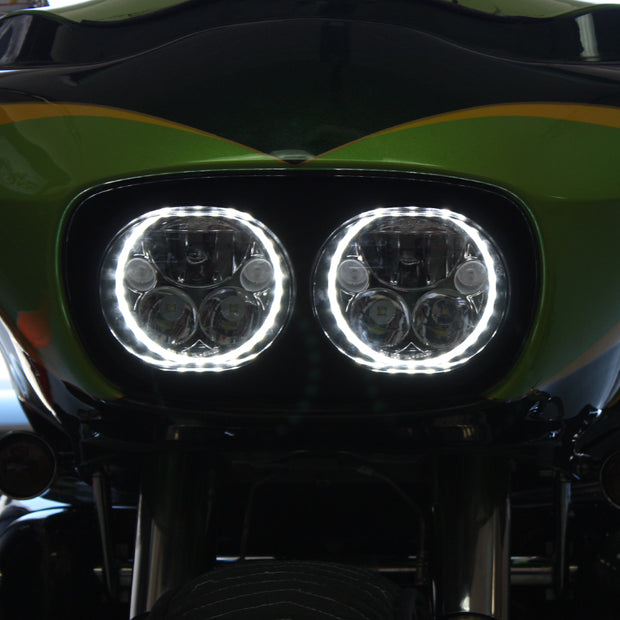 XMC LED Road Glide Headlights From Vision X Glow in Chrome or Black Chrome