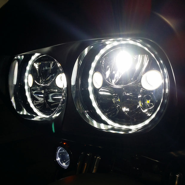 XMC LED Road Glide Headlights from Vision X in Chrome or Black Chrome