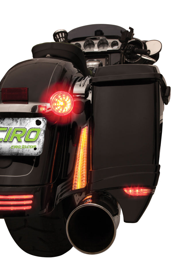 Ciro Filler Panel Lights for '14-UP Street Glide / Special, Road Glide Custom, Road King Special in Chrome or Black