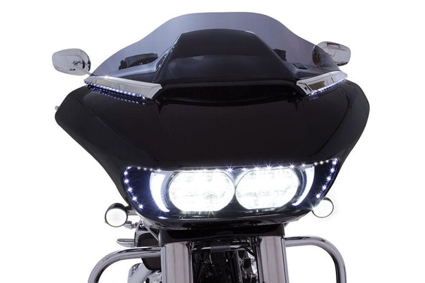 Ciro Horizon Led Lighted Windshield Trim For Road Glide In Chrome Or Black