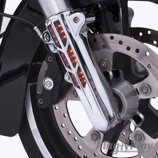 Forkini Lower Fork Leg Covers In Black Or Chrome With Without Led Ciro