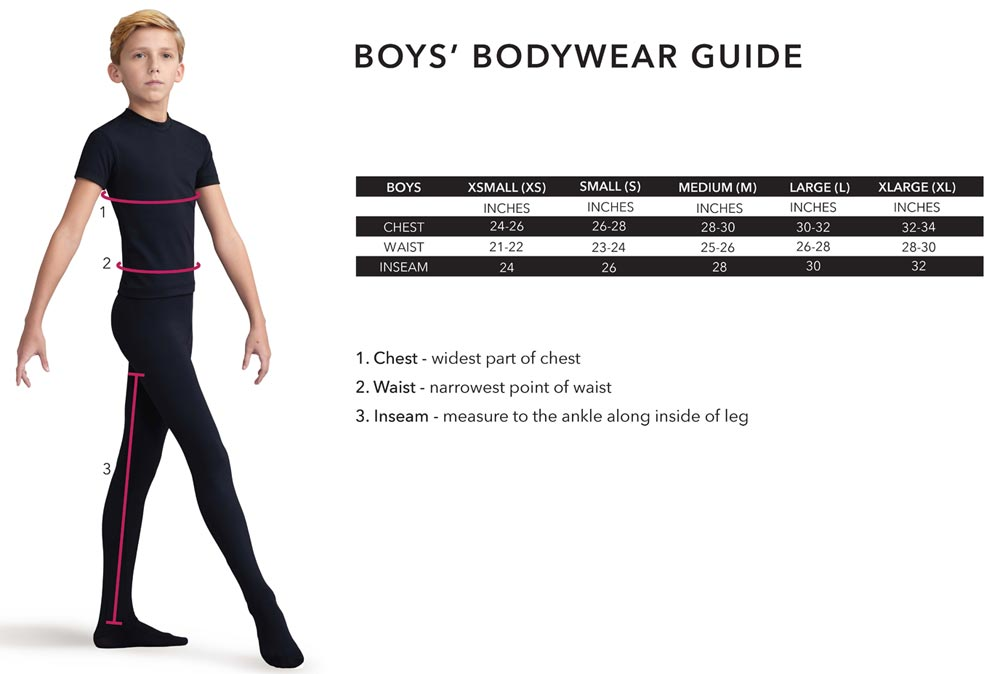 Boys Body Wear - Capezio Size Chart
