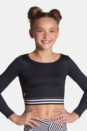 Sylvia P -Ebony Cropped Long Sleeve TopDancewear
