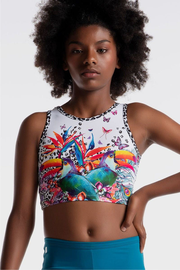 Sylvia P - Wild Side Toucan Time Cropped Singlet Dancewear Aspire Dance Collections