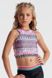 Sylvia P - Wild Side Zebra Power Cropped Singlet Dancewear Aspire Dance Collections
