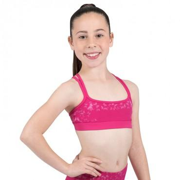 Bloch Izzie Printed Double Cross Back Girls Crop Top Dancewear