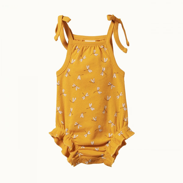 Nature Baby - Ruffle Suit - Dragonfly Honey Print