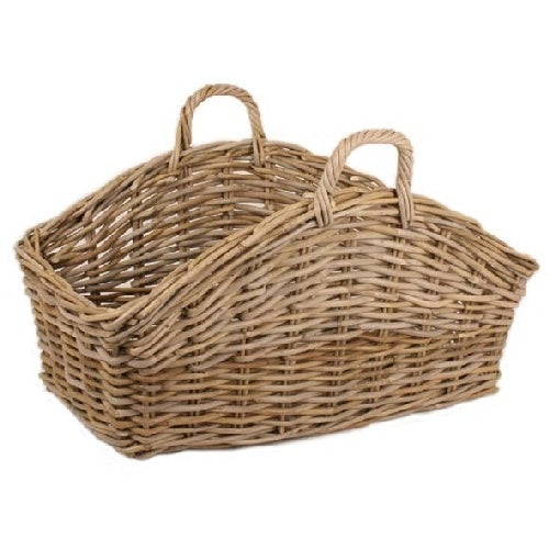 Trade Aid - Curved Rectangular Grey Rattan Basket with Handles