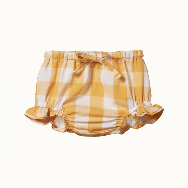 Nature Baby - Gingham Petal Bloomers - Honey Check