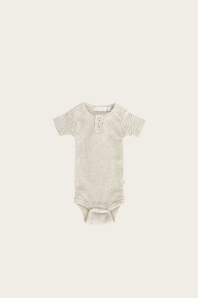 Jamie Kay - Organic Cotton Ribbed S/S Bodysuit - Oatmeal Marle