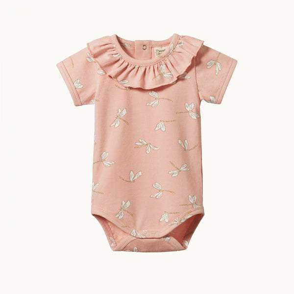 Nature Baby - S/S Primrose Bodysuit - Dragonfly Lily Print