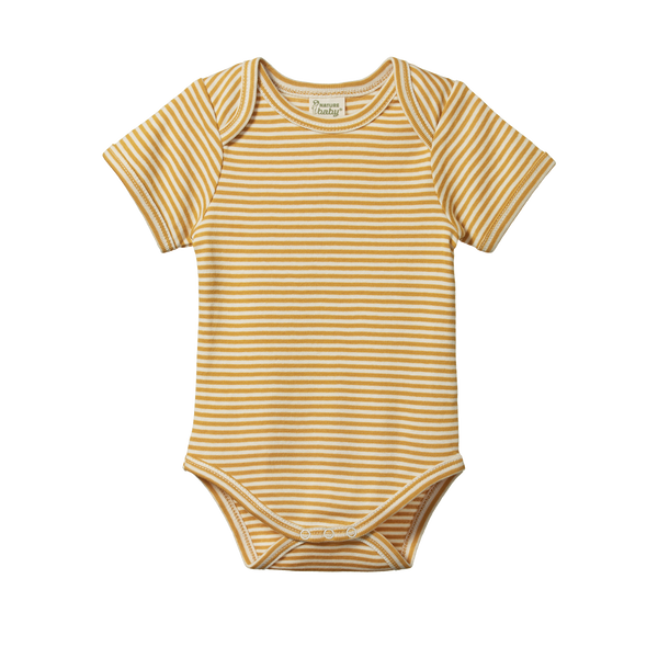 Nature Baby - S/S Bodysuit - Honey Stripe
