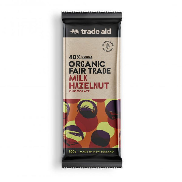 Trade Aid - Organic 40% Milk Hazelnut Chocolate 100g