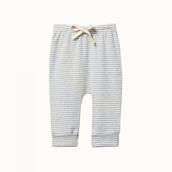 Cotton Drawstring Pants Grey Marl Stripe
