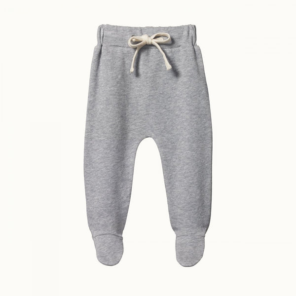 Footed Rompers Sweatshirt Knit Grey Marl