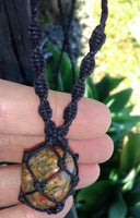 Small Unakite Macrame Necklace