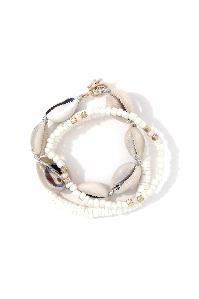 Sea Shell Beaded Stretch Bracelet Set