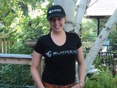 Ladies Block Series - V-Neck - Black with Distressed Gray