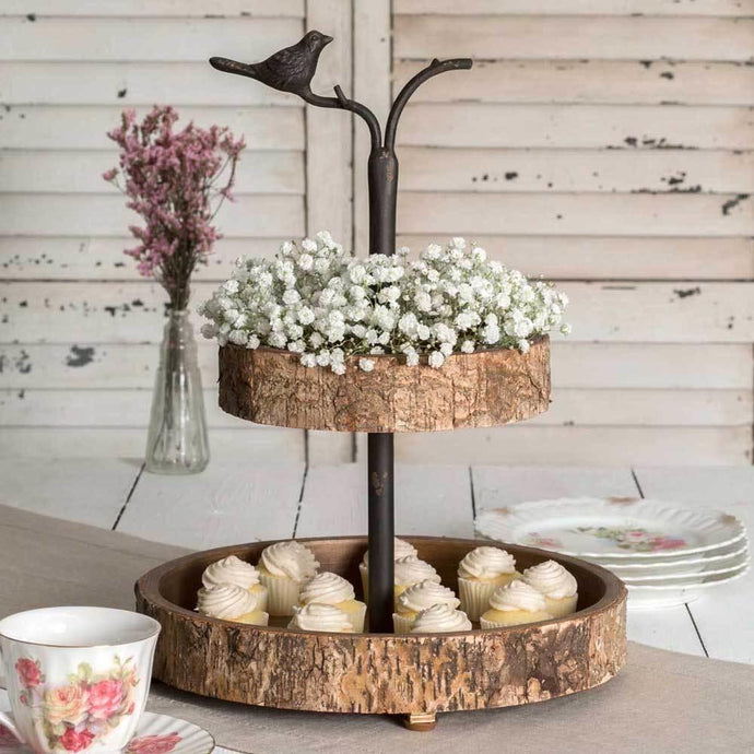 Two Tiered Birch Tray