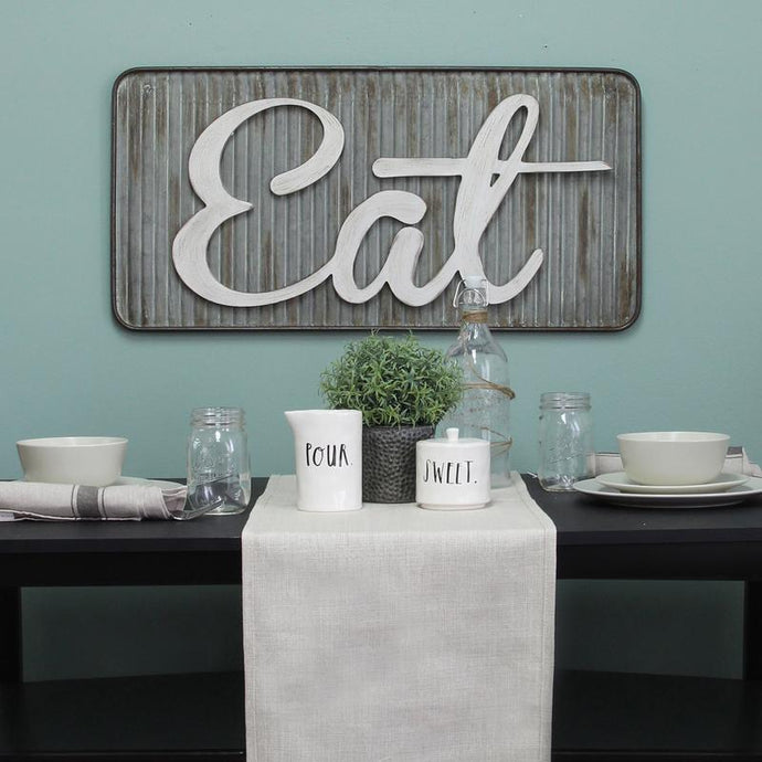Corrugated Galvanized Metal Eat Sign