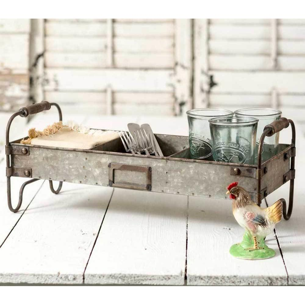 Galvanized Divided Tray with Stand - Decor Daily Deals