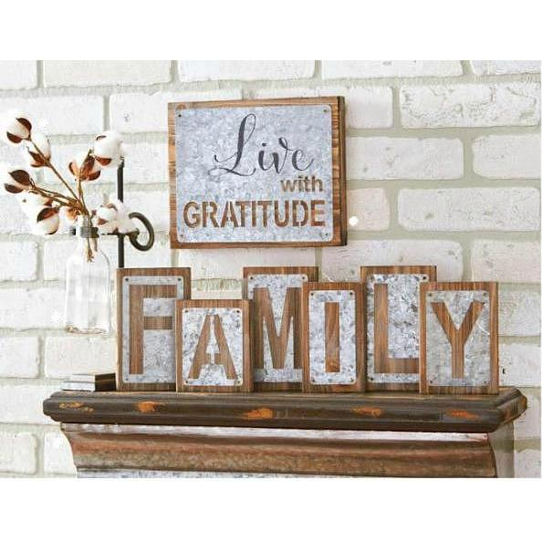 Family Wood Bricks with Galvanized Tin Cutouts - Decor Daily Deals