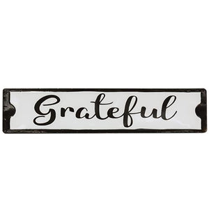 Grateful Enamel Black & White Sign