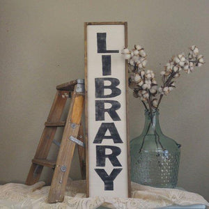 Library Wood Sign- Handmade
