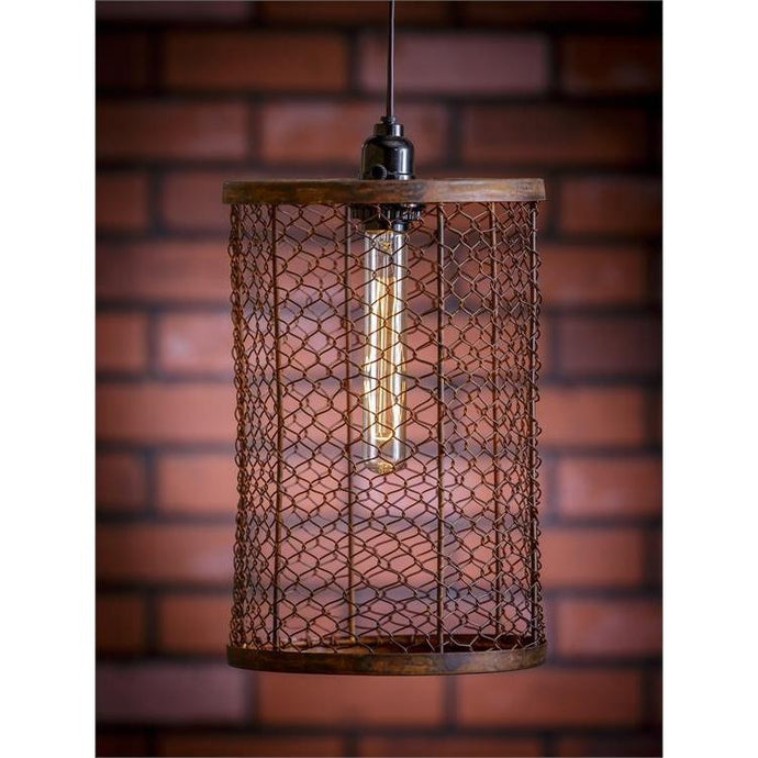 Mesh Cylinder Plug In Pendant Lamp with Bulb