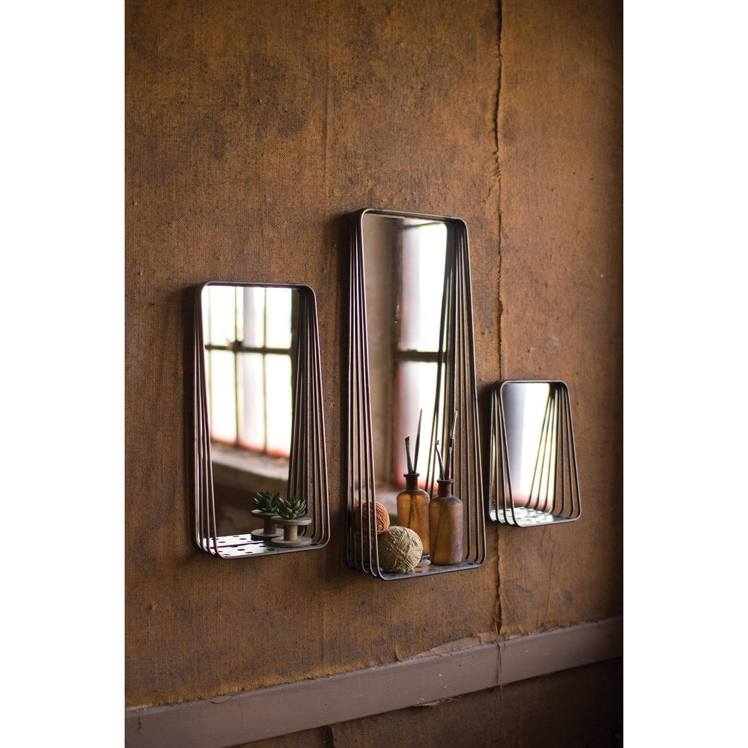 Set of 3 Metal Framed Mirror Wall Shelves