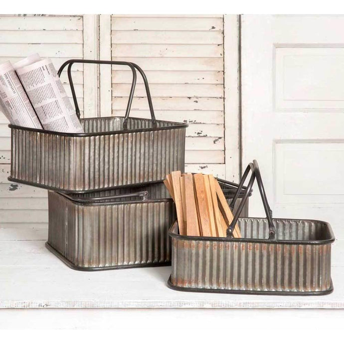 Set of 3 Rectangular Corrugated Metal Bins with Handles